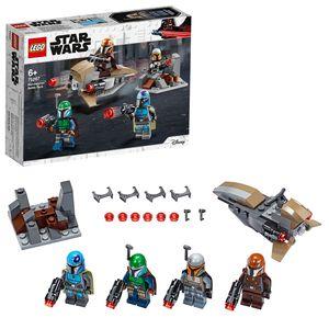 LEGO 75267 Star Wars Mandalorianer Battle Pack Set mit 4 Minifiguren, Speeder-Bike und Verteidigungsfestung