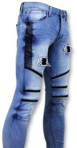 Biker Jeans Ripped - Blau - 30