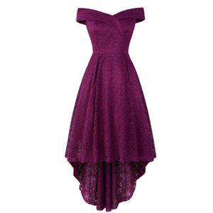 Damenmode Elegantes Brautkleid Spitzenkleid Off-Shoulder Rockabilly Kleid Größe:L,Farbe:Lila