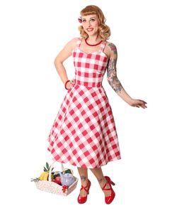 Zoja 50er retro Gingham Picknick Latzkleid Petticoat Kleid v. SugarShock, Größe:XL, Farbe:rot weiss