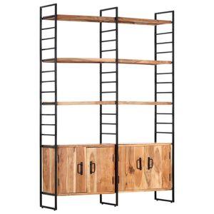 【Modernen Design】Bücherregale Bücherschrank Standregalch 4 Etagen 124x30x180 cm Hochwertiger Möbel| Massivholz Akazie Produktgröße:124 x 30 x 180 cm Hochwertiger Möbel|Regalsysteme|Bücherregale,Bücherschränke♔8429