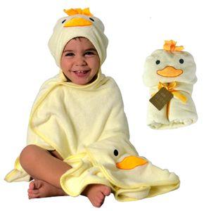HECKBO 3D Küken Kapuzen Handtuch + GRATIS Waschlappen   0-6 Jahre  2 Druckknöpfe zum Verschließen   100% Bambus   Größe: 90x100cm   Badehandtuch mit Kapuze für Jungen Mädchen Kinder   Baby Bademantel