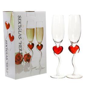 1x Sektgläser Herz in Geschenkbox, 2er Set, 200ml, Hochzeit, Champagnergläser, Standesamt, Liebe, Trauung