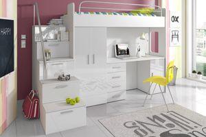 Selsey - Möbel-Set ASTURIA mit Treppen für Kinderzimmer, in Weiß, mit Kleiderschrank, Schreibtisch und Bett