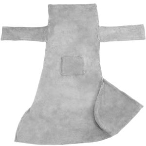 tectake Kuscheldecke mit Ärmeln - grau, 180 x 150 cm