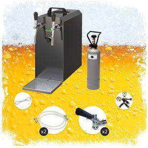 Komplett Set - Zapfanlage STREAM 50 Bierkoffer, Durchlaufkühler 2-leitig Trockenkühler, bis zu 55 Liter/h - BLACK EDITION, Zapfkopf:Dreikant, Zapfkopf 2:NC Adapter
