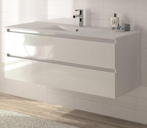 ALLIBERT Badmöbel-Set Badmöbel vormontiert weiß Glanz Softclose Waschtisch 120cm