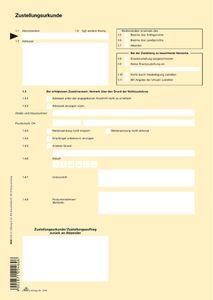 """RNK Verlag Vordruck """"Zustellungsurkunde"""" DIN A4"""