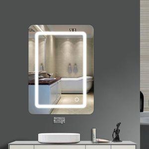 Badspiegel mit Beleuchtung,Badezimmerspiegel mit Beleuchtung,Badezimmerspiegel LED Touch 500 * 700 * 40mm mit Licht 9W