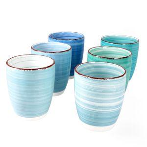 6er Kaffeebecher Set Blue Baita 350ml ohne Henkel Trinkbecher Tee Pott Blautöne