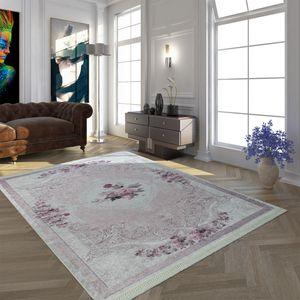 Moderner Teppich Mit Bedrucktem Vintage Muster Trend Design Rosa Creme, Grösse:80x150 cm
