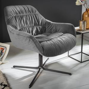 Retro Relax-Sessel BIG DUTCH grau Samt mit Armlehnen Relaxsessel Loungesessel Polstersessel Esszimmerstuhl