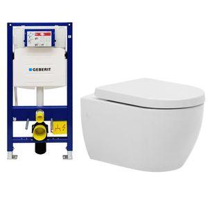 Komplett-Set Dusch-WC mit Geberit Duofix UP320 Spülkasten inkl.Deckel Rimless ohne Spülrand (Rimless)   Spülrandlose Hänge-Toilette mit Bidetfunktion  