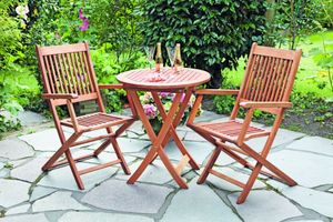 Merxx 3tlg. Rio Gartenmöbelset - 2 Sessel, 1 Tisch - Farbe: braun - Maße: Sessel: 60x50x94 Tisch: Ø 65x75; 2x 25151-011 +  1x 25157-011