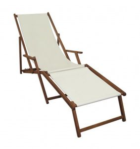 Sonnenliege weiß Liegestuhl Fußablage Gartenliege Holz Deckchair Strandstuhl Gartenmöbel 10-303 F