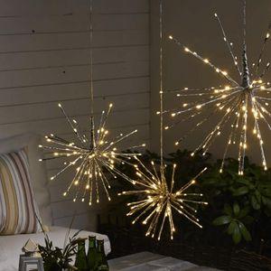 3D-LED-Hängestern 'Firework' - D: 60cm - silber mit 120 warmweißen LED - Programme - Outdoor