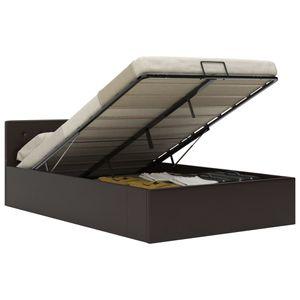 Betten Bettgestelle Stauraumbett Hydraulisch Grau Kunstleder 120×200 cm