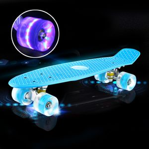 """22"""" LED Blinkendes Skateboard Funboard Miniboard Komplett Board Kinderboard bis 150kg"""