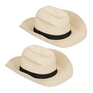 relaxdays 2 x Panamahut Trilby Hut Strohhut Damen Kostümhut Fedora Hut Herren Bogarthut
