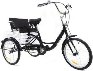 Dreirad Für Erwachsene Erwachsenendreirad Seniorenrad  Single Geschwindigkeit 3Rad Fahrrad Mit Kindersitz  Schwarz Geschenk