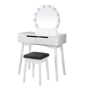 Schminktisch weiß | mit Hocker + LED + rundem Spiegel | Kosmetiktisch mit 2 Schubladen | Frisiertisch mit Glühbirnen VASAGLE RDT11WL