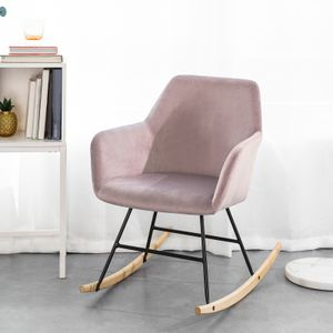 SoBuy Schaukelsessel Schaukelstuhl Relax Stuhl Sessel aus Samt und Buche Belastbarkeit: 150kg Pink FST68-P