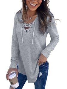 Frauen Plain Casual Sweatshirt Lose Langarm V-Ausschnitt Bluse Tops Pullover,Farbe: Grau,Größe:XL