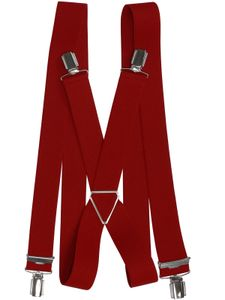 Hosenträger mit 4 Clips Metallkreuz, Größen:120 cm, Farben:rot