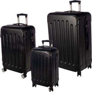 3er Reisekoffer Set mit Rollen & Zahlenschloss Hartschalenkoffer Gr. M/L/XL Schwarz Trolley Handgepäck Reisegepäck Kofferset Hardcase Travel