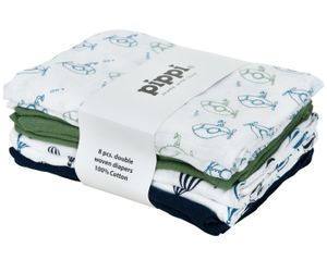 Pippi hydrophile Tücher 70 cm Baumwolle weiß/grün 8 Stück
