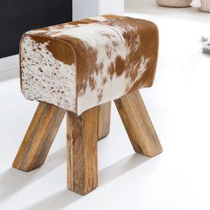 WOHNLING Design Turnbock Sitzhocker Ziegenfell Braun / Weiß 40 x 30 x 47 cm | Turnhocker Hocker Fellhocker Springbock | Beistellhocker Fußhocker