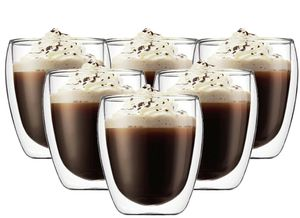 250ml Doppelwandige Thermo Gläser 6er Set Latte Macchiato Cocktail Kaffee Teetasse