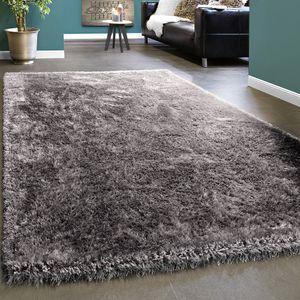 Edler Teppich Shaggy Hochflor Einfarbig Flauschig Glänzend In Grau Hellgrau, Grösse:120x170 cm
