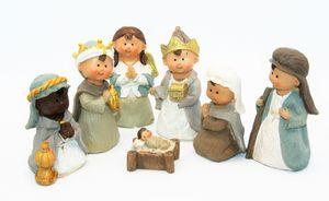 Krippenfiguren Set 7 teilig Kindergesichter