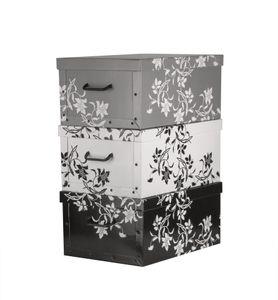 Aufbewahrungsbox mit Deckel Pappe 3er Set Blumenmuster Barock