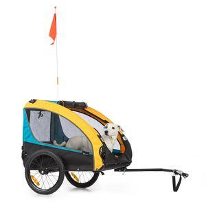 Klarfit Husky Race Fahrrad-Hundeanhänger,ca. 282 L Volumen,Material: 600D Oxford Canvas mit wasserdichter PVC-Beschichtung,SmartSpace Concept: faltbar,maximale Belastbarkeit: 40 kg - Blau / Gelb