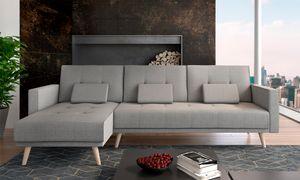 Home Innovation Ecksofa Verona 267cm, mit Bettfunktion und Chaiselongue, Grau