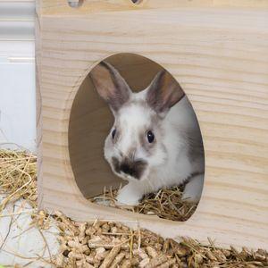 Navaris Kaninchenhaus Hasenhaus Nagerhaus für Kleintiere - Haus für Zwerg Kaninchen Hasen Meerschweinchen - Häuschen Tunnel Hütte Höhle aus Holz