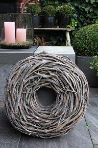 Großer Shabby Kranz Türkranz Wandkranz Ø 50 cm Gartendeko Naturkranz grau