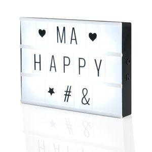 [in.tec]® LED Lichtbox - 90 Zeichen Set - Lichttafel - 3 Reihen je 8 zeichen platz - Leuchtbild