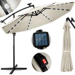 tillvex Alu Ampelschirm Beige LED Solar Ø 300 cm mit Kurbel   Sonnenschirm mit An-/Ausschalter   Gartenschirm UV-Schutz Aluminium   Kurbelschirm mit Ständer Marktschirm wasserdicht