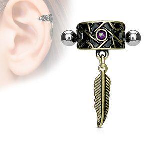 Tragus Cartilage Helix Ohr Piercing Opal und Feder Antik Gold
