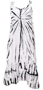 Boho Batikkleid, Strandkleid, Sommerkleid in Übergröße - Weiß, Damen, Viskose, Lange & Midi-Kleider