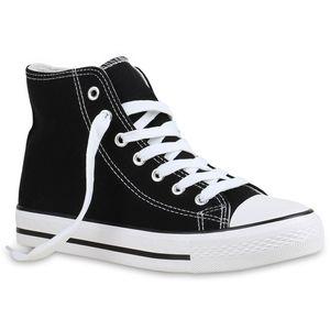 Mytrendshoe Damen High Top Sneakers Sportschuhe Stoffschuhe Freizeit Schuhe 815563, Farbe: Schwarz, Größe: 38