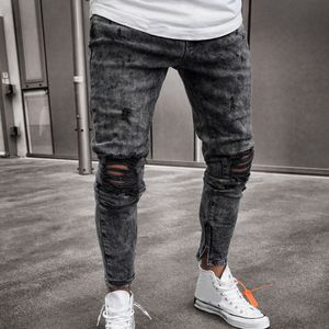 Herren Skinny Stretch Jeanshose Distressed Ripped Freyed Slim Fit Jeanshose Größe:XXXL,Farbe:Grau