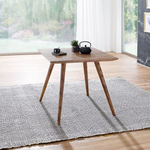 WOHNLING Esszimmertisch REPA 80 x 80 x 76 cm Sheesham rustikal Massiv-Holz | Design Landhaus Esstisch | Tisch für Esszimmer quadratisch | 4 Personen
