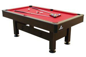 Cougar Topaz Billardtisch 6ft in Braun / Rot | Höhenverstellbarer Pooltisch inkl. Zubehör | Tischbillard für Kinder und Erwachsene | Indoor Pool / Billard Tisch