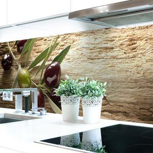 Küchenrückwand Oliven Premium Hart-PVC 0,4 mm selbstklebend - Direkt auf die Fliesen, Größe:340 x 60 cm
