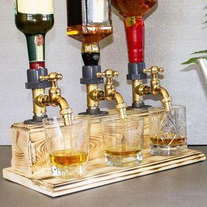 3- Wasserhähne Whisky Spender Whiskey wood Dispenser Bar Alkohol Trinken Alkoholspender