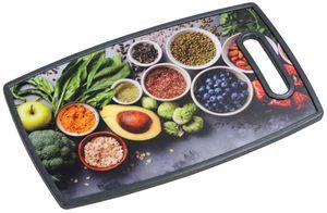 """Kesper Schneide- und Servierbrett """"Healthy Kitchen"""" 37 x 23 cm, Kunststoff Küchenbrett mit Holz-Kern, mit Griff"""